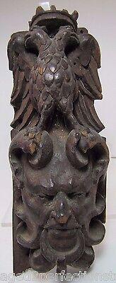 Antique Carved Wood Double Headed Eagle DEVIL EVIL Man Head ornate figural decor