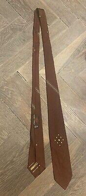 1950s Men's Ties, Bow Ties – Vintage, Skinny, Knit Vintage Mens 1950s Arthur Martin Skinny Brown Silk Tie Styled by Harry Harris $12.00 AT vintagedancer.com