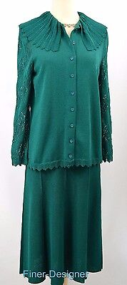 Castleberry green SUIT pleated SKIRT SWEATER TOP Outfit 2-pc dress SZ 6 NEW VTG