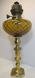 Antique-Oil-Lamp-Brass-and-Amber-diamond-cut-Glass-Matador-Brenner