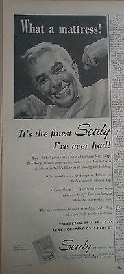 1948 Sealy Colchón Hombre en Morning Pijama Estiramiento Original Anuncio