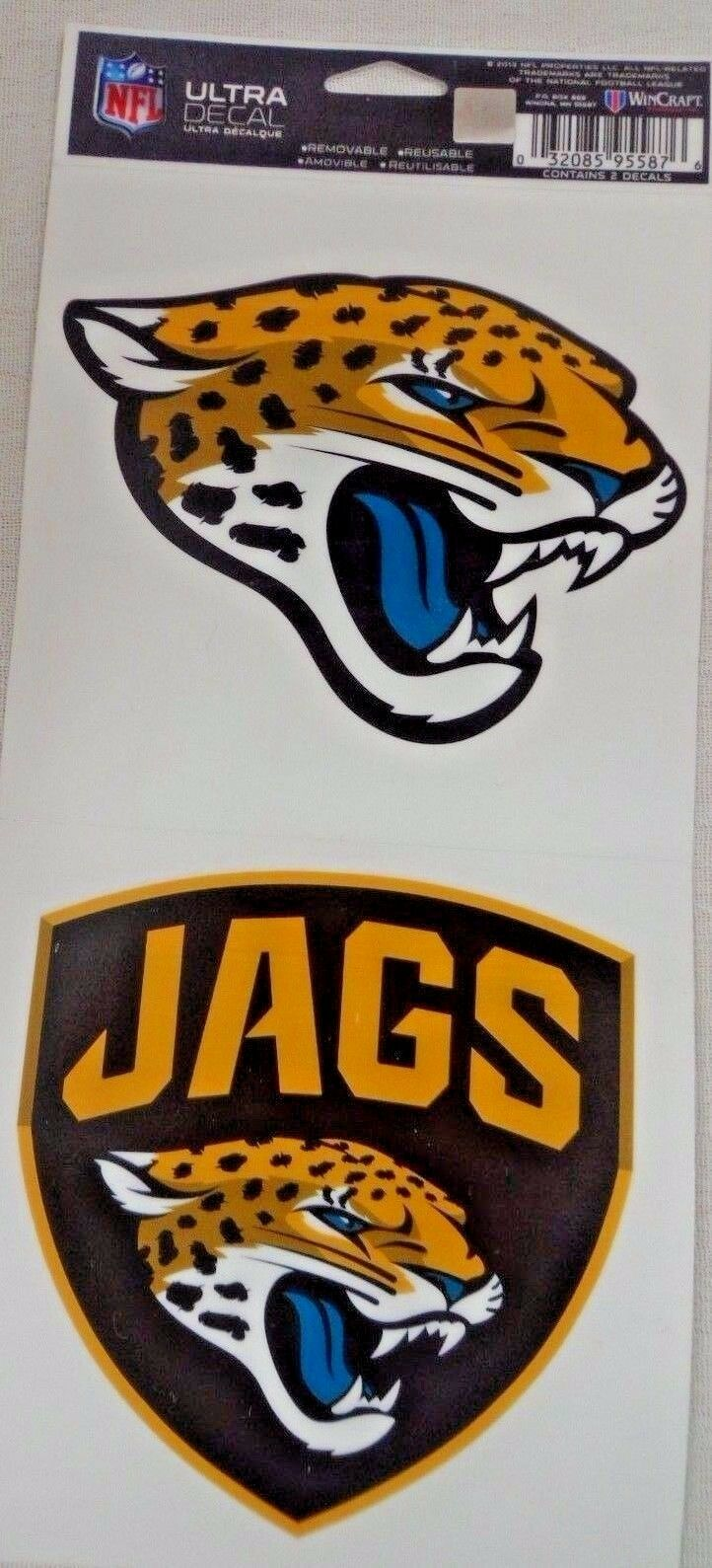 NFL Ultra Decals 2 Pack Set Removable Reusable Sticker Wincraft Jacksonville Jaguars