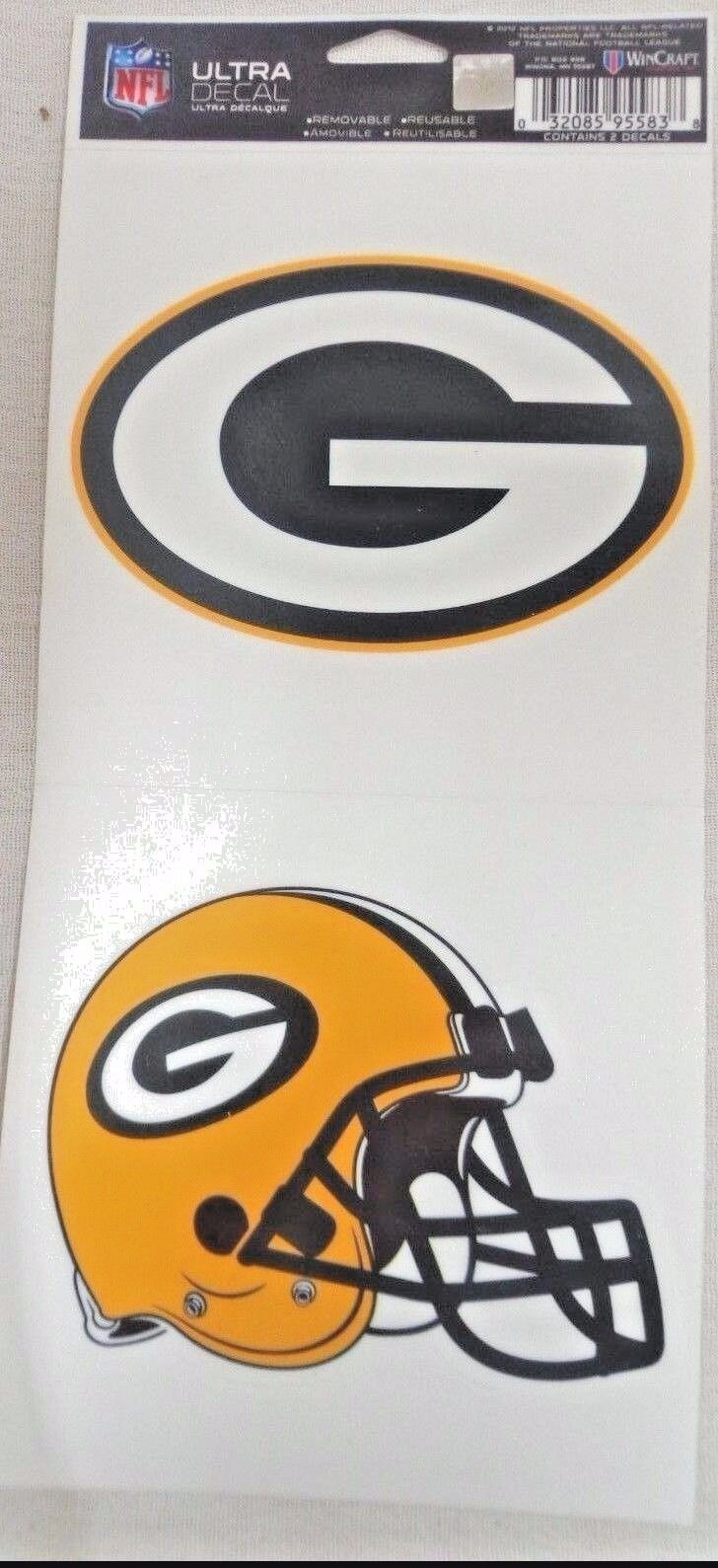 NFL Ultra Decals 2 Pack Set Removable Reusable Sticker Wincraft Green Bay Packers