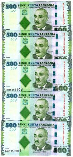 LOT 5 x Tanzania, 500 shillings, 2010 (2011) P-40, UNC