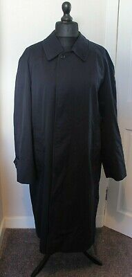 Vintage Burberry Mens Trench Coat Single Breasted Navy Size 50 Short
