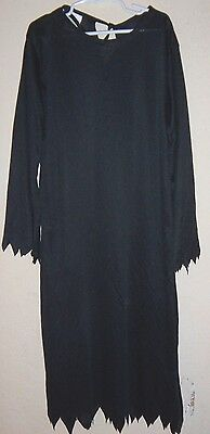 BOYS GIRLS ALL BLACK HALLOWEEN ROBE COSTUME size 8 to 10 JAGGED EDGE MANY IDEAS!