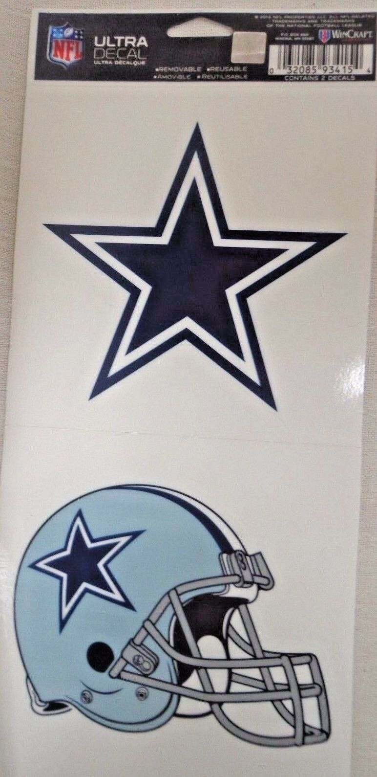 NFL Ultra Decals 2 Pack Set Removable Reusable Sticker Wincraft Dallas Cowboys