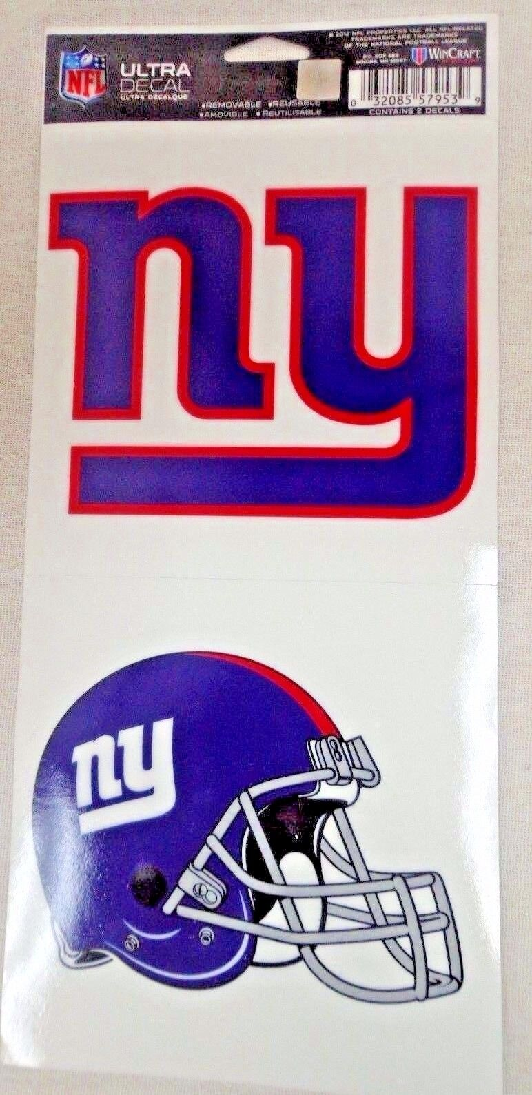 NFL Ultra Decals 2 Pack Set Removable Reusable Sticker Wincraft New York Giants