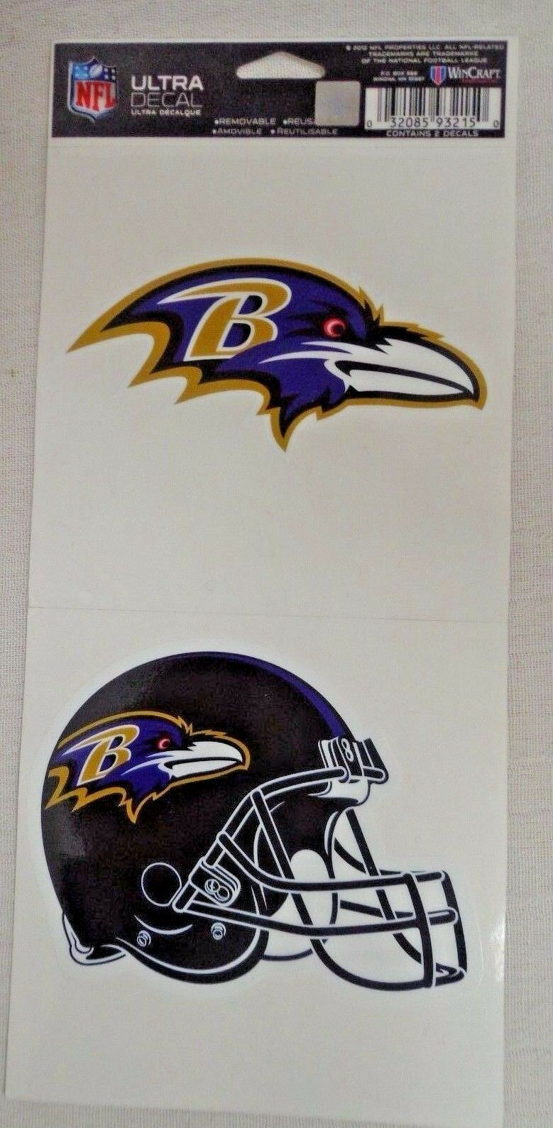 NFL Ultra Decals 2 Pack Set Removable Reusable Sticker Wincraft Baltimore Ravens