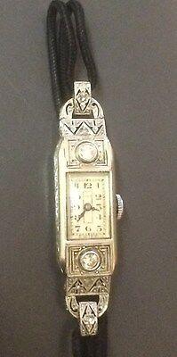 Armbanduhr Damen 750er Platin mit Brillanten 0,18 ct.Jugendstil  -sehr hübsch-