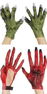 LATEX GREEN MONSTER DINOSAUR DRAGON ZOMBIE RED DEVIL COSTUME HANDS CLAWS - Zombie Hands