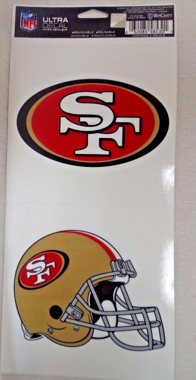 NFL Ultra Decals 2 Pack Set Removable Reusable Sticker Wincraft San Francisco 49ers