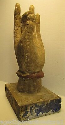 Antique Asian Thai Kwan Yin Hand old paint ornate details hand carved wood
