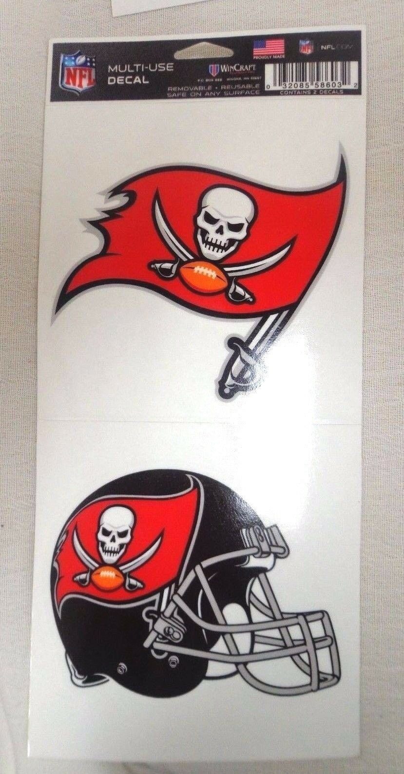 NFL Ultra Decals 2 Pack Set Removable Reusable Sticker Wincraft Tampa Bay Buccaneers