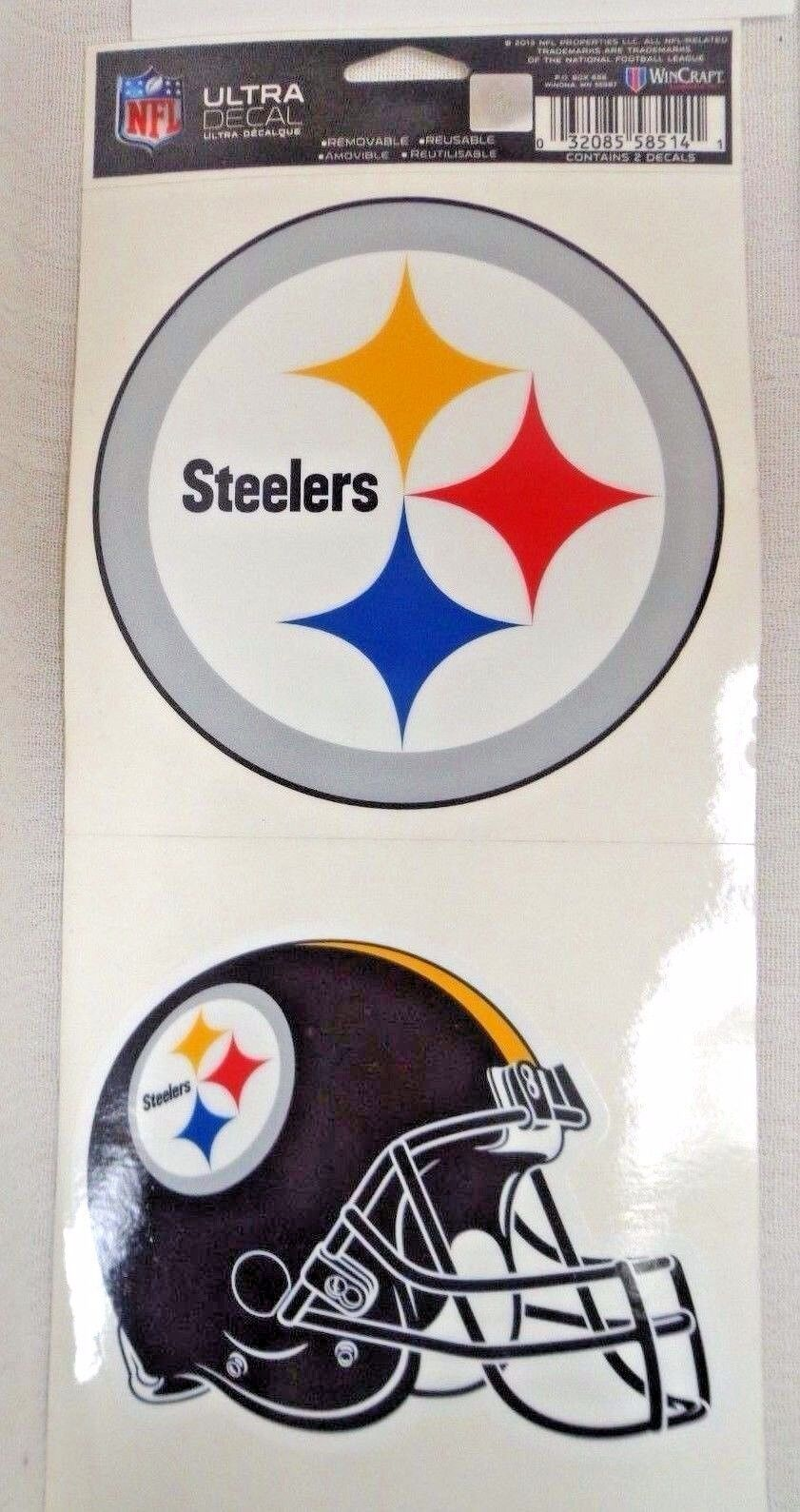 NFL Ultra Decals 2 Pack Set Removable Reusable Sticker Wincraft Pittsburgh Steelers