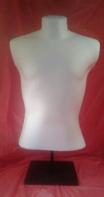 White Mannequin - Male Torso Body Form With Stand Made In Michigan Usa