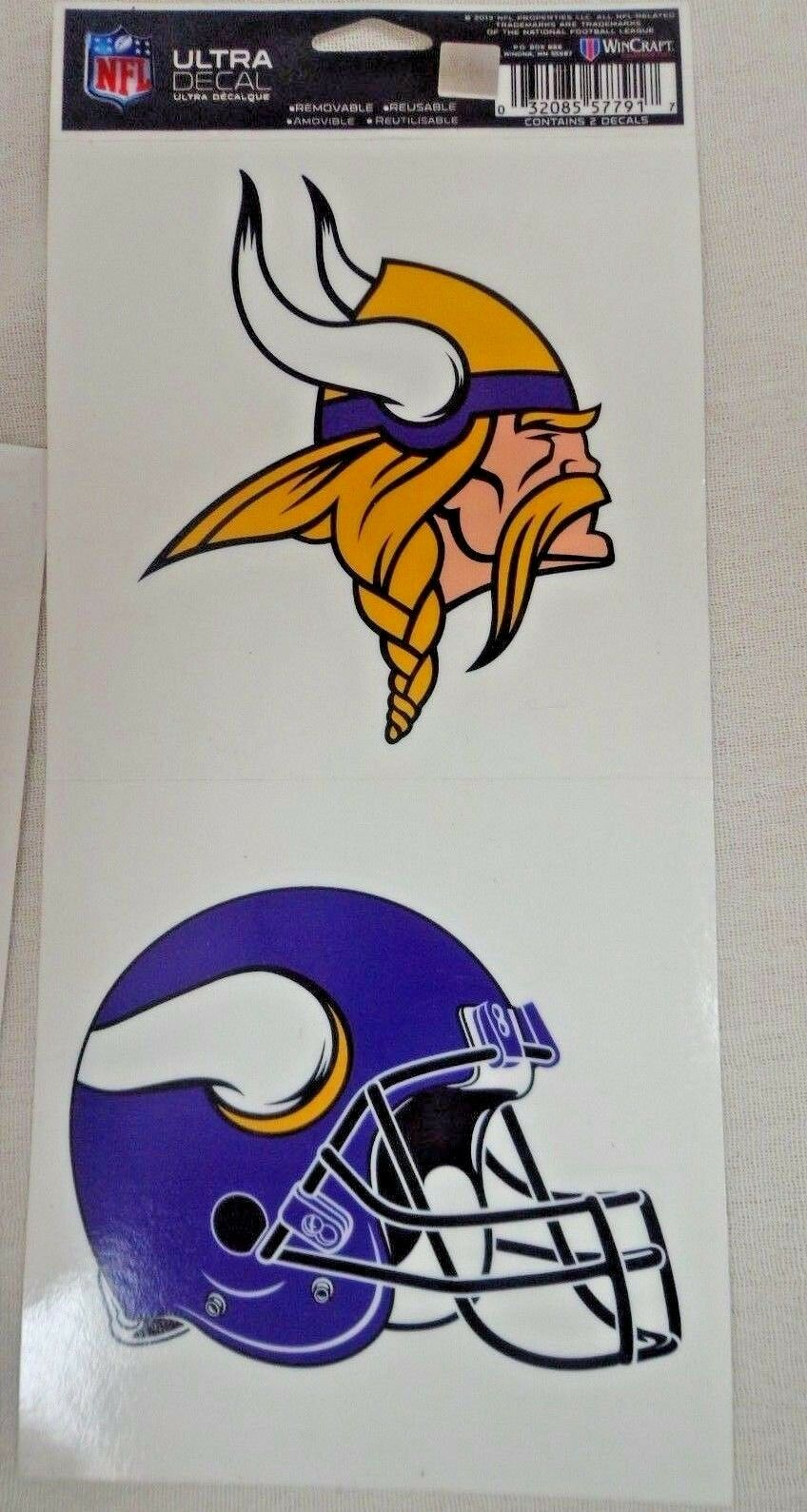 NFL Ultra Decals 2 Pack Set Removable Reusable Sticker Wincraft Minnesota Vikings