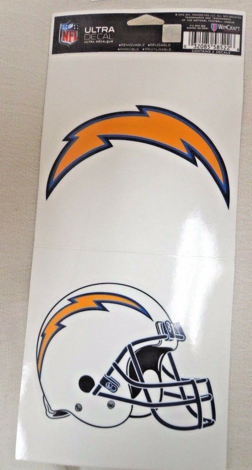 NFL Ultra Decals 2 Pack Set Removable Reusable Sticker Wincraft San Diego Chargers