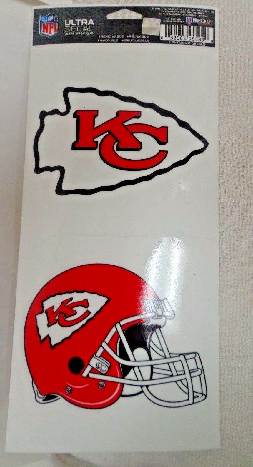 NFL Ultra Decals 2 Pack Set Removable Reusable Sticker Wincraft Kansas City Chiefs