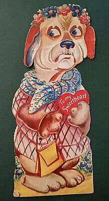 1930s Handbags and Purses Fashion 1930s Sad ENGLISH BULLDOG w Purse Mechanical Wheel Valentine Card Germany $29.95 AT vintagedancer.com