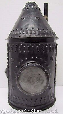 Punched Tin Candle Lantern Side Smoke Stack Double Glass Lenses unusual design