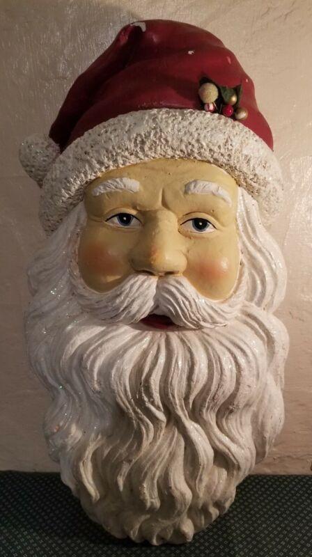 Vintage Santa Claus Head Christmas Holiday Wall Ornament Art