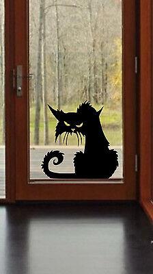 Scary Cat Halloween Wall Window Decal Vinyl Sticker Decor  - Scary Halloween Window