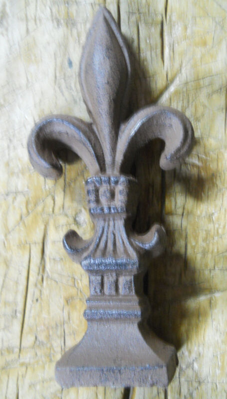 HUGE Cast Iron FLEUR DE LIS Finial Garden Statue Home Decor Rustic Ranch SAINTS