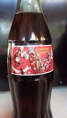 Christmas Santa with Reindeer 1998 COCA-COLA BOTTLE COLLECTIBLE 8OZ.