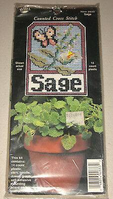 New Sealed Nmi  Sage Plant Poke  Counted Cross Stitch Kit Everything Included