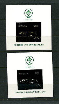 Guyana 1993 Whales Scouts Ecology Michel Bl 261-62 Gold and Silver Deluxe Sheets
