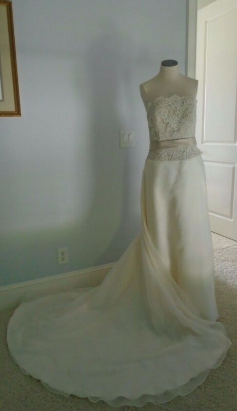 Wedding Dress Paloma Blanco Champange Lace Over Bodice Off White Strapless