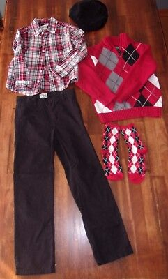 The Childrens Place Tcp Boys Sz 5 6 Christmas Outift Sz 7 Slim Pants Cap Socks