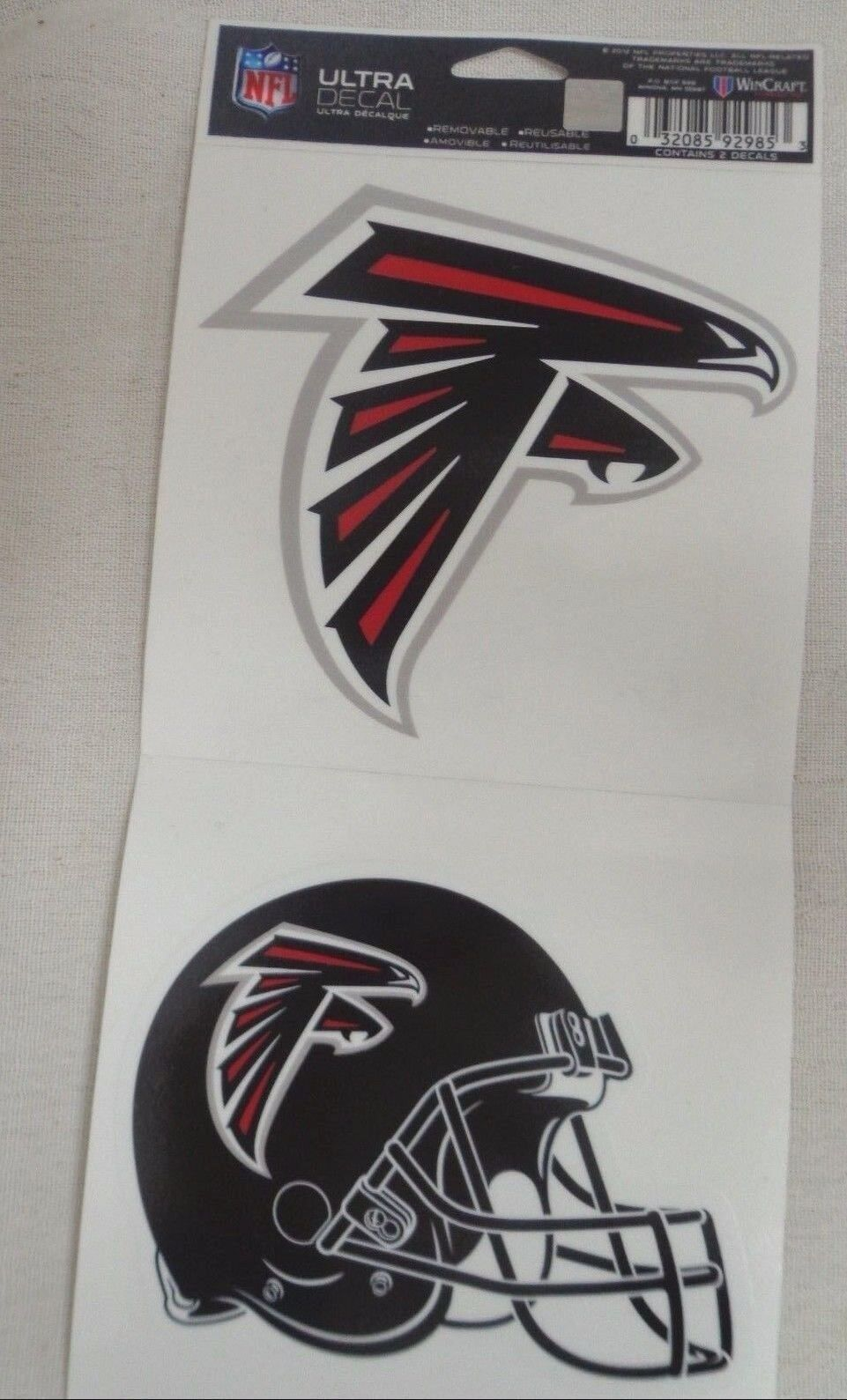 NFL Ultra Decals 2 Pack Set Removable Reusable Sticker Wincraft Atlanta Falcons