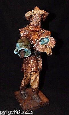 Vintage Paper Mache Old Man / Guy Standing w/ Sumbrero / Hat Holding Jar & Bowl