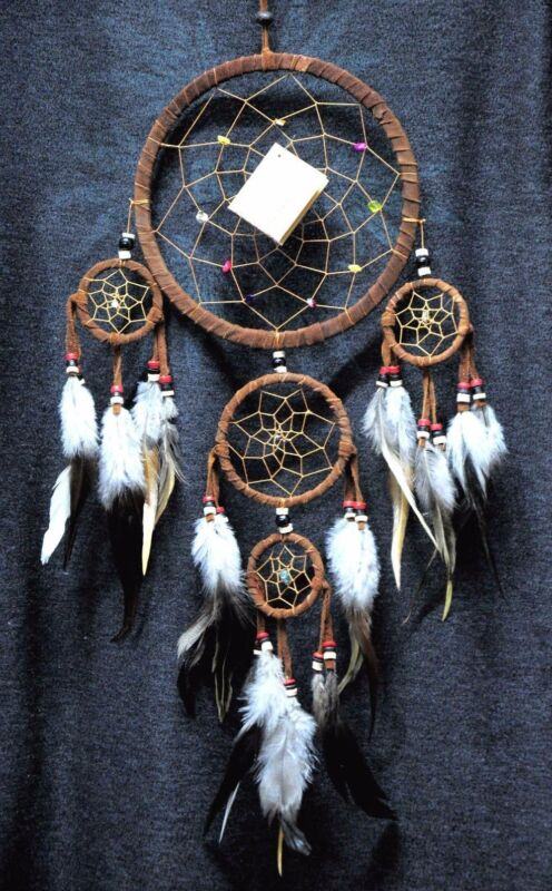 """Dream Catcher brown wall hanging decoration bead  ornament feathers long 22 """""""