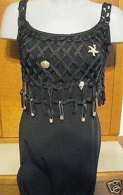 Langes schmales Kleid schwarz Ball Faschingskostüm Nixe Meer Muscheln Netz 36 S