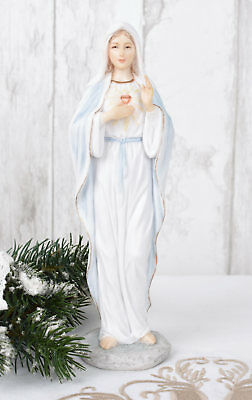 Heiligenfigur Madonna shabby Figur Maria Mutter Gottes Skulptur Herz Mariens neu