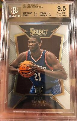 4e12176e476 Joel Embiid Rookie Card Select Concourse Panini Gem Mint 9.5 BGS 2014 All  Star