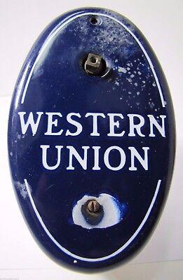 Old Porcelain Western Union Call Box Telegraph Telegram Advertising Adv Sign Box