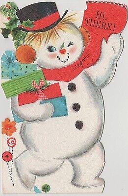 VTG DIE CUT HALLMARK WAVING SNOWMAN PRESENTS CHRISTMAS GREETING CARD NEW