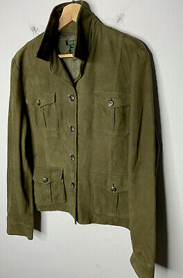 Ralph Lauren Small Leather Green Blazer Jacket RRL Polo Military Rugby Suede VTG