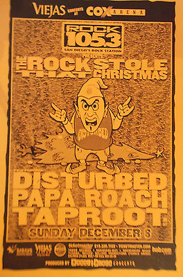 DISTURBED  Poster PAPA ROACH TAPROOT San Diego CONCERT POSTER Cox Arena