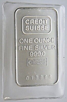 Sealed 1 Oz Credit Suisse Silver Bar  999 Pure Vintage Older Mint From 1981