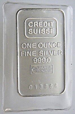 Sealed 1 Oz Credit Suisse Silver Bar  999 Pure Vintage Older Mint From 1981