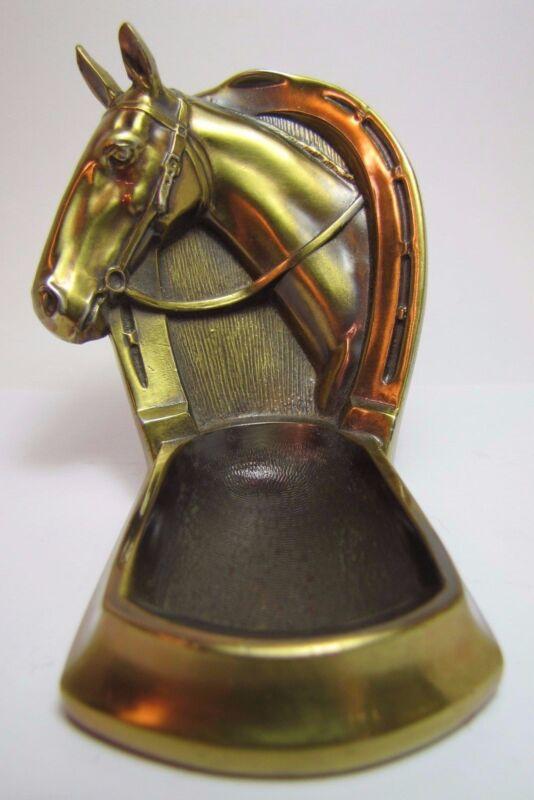Vintage Figural Horse Tray ornate brass wsh horseshoe pin ring trniket jewelry