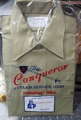 Conqueror TAN Police Uniform Shirt Long Sleeve Size Mens 14 x 1 w/badge holes  Tan Uniform Shirt
