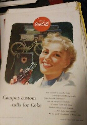 1953 Coca Cola COKE Ad  Vintage bike Bicycle - campus custom calls for coke