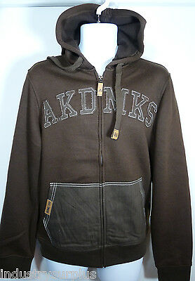 Akademiks Men's Brown Heavyweight Fleece Full Zip 2 Pocket Logo Hoodie Akademiks Hoodie