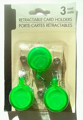 3 Green Employee Retractable Reel Badge Belt Clip Lanyard Id Card Holder Black